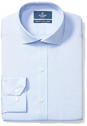 Tailored Fit Cutaway-Collar Solid Non-Iron Dress Shirt (Pocket), Blue, 17