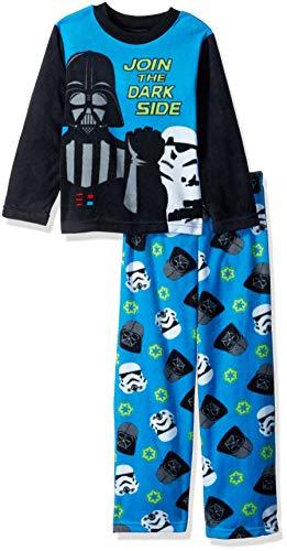 Star Wars Boys' Big Darth Vader 2-Piece Fleece Pajama Set, Dark Side, 10 -