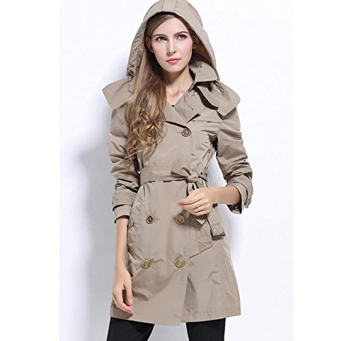 XYLUCKY Slim Fit rompevientos abrigo ropa exterior femenina . dark coffee . m