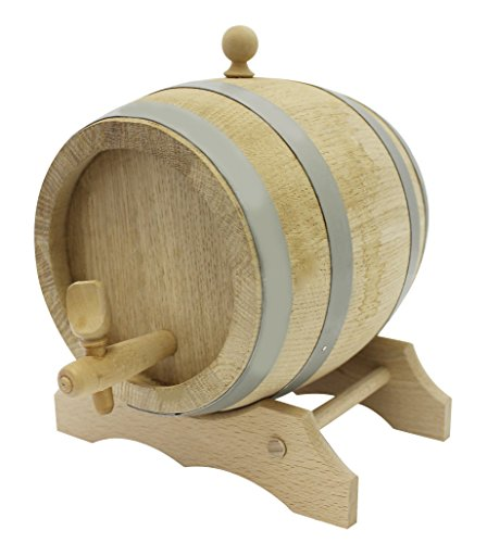 Paderno World Cuisine A4982272 Oak Barrel with Spigot and Stand, Beige