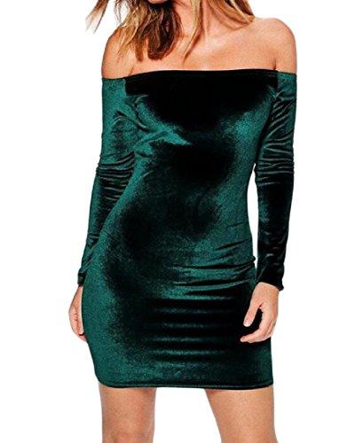 Partito Velluto Verde Flessibili Senza Solido Spalline Eleganti donne Coolred Fit Nerastro Abiti Di Club 1AKyzKUWqn
