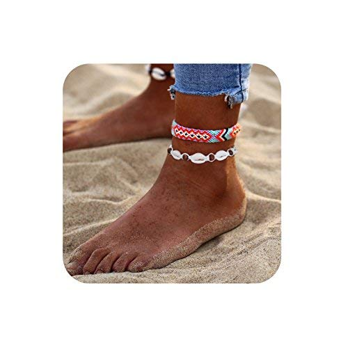 Shell/&Green SEWEI Starfish Turtle Anklets Shell Anklet Layered Boho Gold Chain Anklet Heart Beach Rhinestones Turquoise Stone Charm Anklet