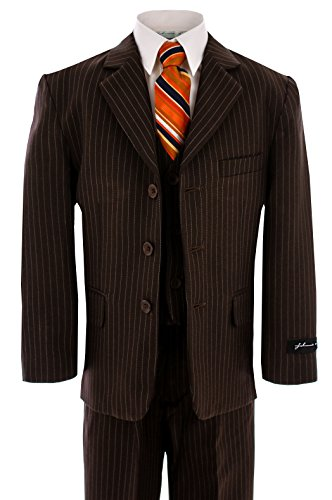 JL5014 BROWN PINSTRIPE Suit for Boys From Baby to Teen (12) (Brown Pinstripe Wool Suit)