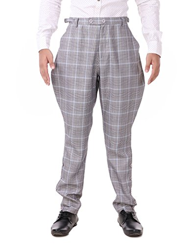 (ThePirateDressing Steampunk Victorian Cosplay Costume Mens Archibald Jodhpur 100% Cotton Pants Trousers C1326 (Grey+Blue Check))