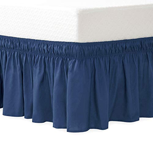 Joywell Wrap Around Style Egyptian Cotton Bed Skirt Valance with Elastic Band, Breathable, Durable and Soft Fabric, Elastic Wrinkle Resistance, Luxurious Fabric, Easy Fit Wrinkle and Fade Resistant