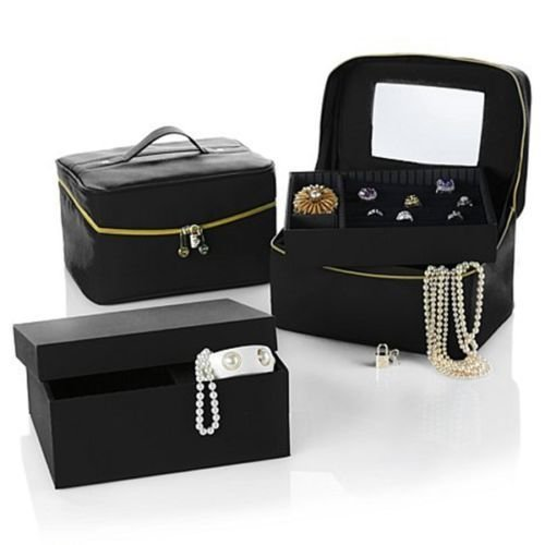 Joy Mangano Luxurious Jewelry Kit Trio Plus Large Jewelry Box (Jet Black) ()