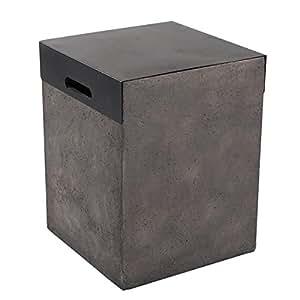 "Dian 34"" Modern Concrete Gas Fire-Pit Table place 20 lb LP propane Tank Cover"