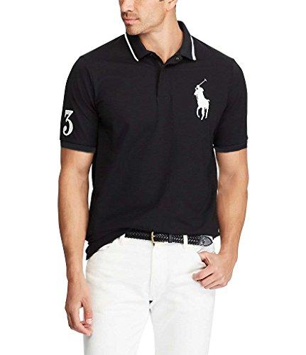 Mens Polo Ralph Lauren Classic Fit Big Pony Polo Shirt (Large, Black (Striped - Lauren Mens Ralph 2 Number
