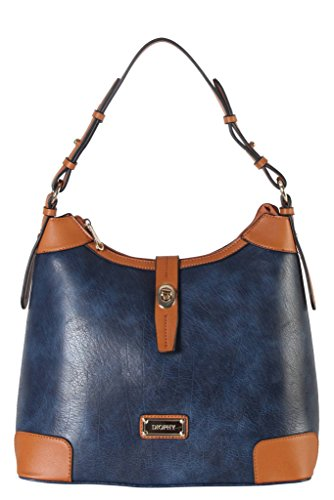 Turn Purse Tone Hobo Handbag Lock Front Leather Blue 020 Womens Diophy AB PU Two q4AFtt