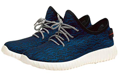 Goodhoop Men's Lightweight Running Shoes Casual Sneakers (US 9, Blue) University Trainer tap Stripes Type Trendy Trending Track Toe tan Summer Soccer Slipper Slipon Skateboard Suede Straps Strappy by Goodhoop (Image #1)