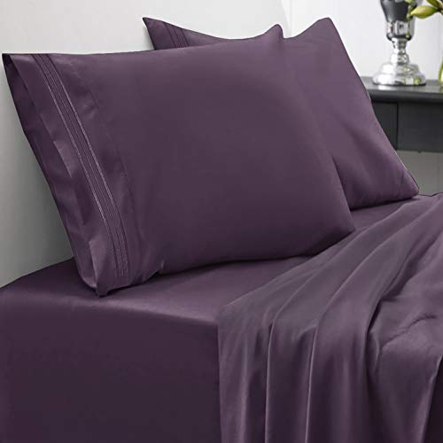1800 Thread Count Sheet Set - Soft Egyptian Quality Brushed Microfiber Hypoallergenic Sheets - Luxury Bedding Set with Flat Sheet, Fitted Sheet, 2 Pillow Cases, Full, Purple (Pillows And Purple Silver)