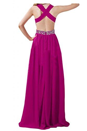 Prom dresses Toscana sposa adorabile Rueckenfrei cristallo dei vestiti da sera Chiffon lungo del partito damigella d'onore viola 42