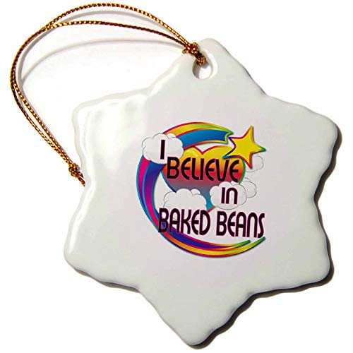 (3dRose I Baked Beans Cute Believer Design Snowflake Ornament)