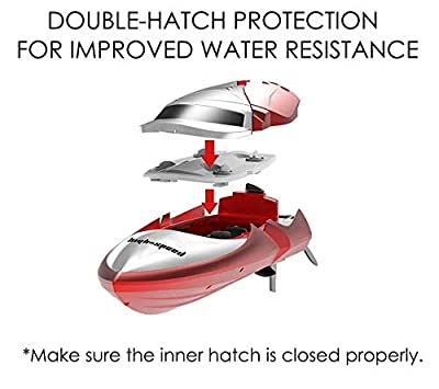 Haktoys HAK606 New 2018 High-Speed 2.4GHz Futuristic RC Boat with Capsize Recovery, Double-Hatch Protection | LCD Screen Remote Control Hobby Racing Yacht | Great Present Toy Beginners, Kids & Adults from Haktoys