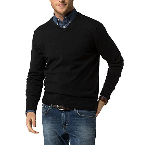 ool Blend Solid V-Neck Sweater Pullover(Black4548,XL) (Knit Wool Blend Sweater)