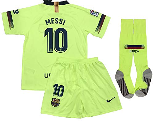 TrendsNow New 2019 Messi #10 Barcelona Away Jersey Shorts & Socks for Kids and Youths (9-10 Years Old) Yellow