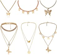 Subiceto Butterfly Choker Necklaces for Women Gold Butterfly Pendant Necklace Chain Collar Necklaces