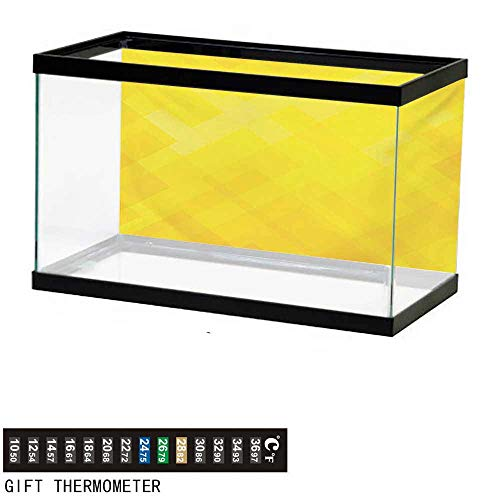 - wwwhsl Aquarium Background,Yellow,Contemporary Art Inspirations in Yellow Toned Geometrical Rhombus Arrangement,Yellow Marigold Fish Tank Backdrop 24