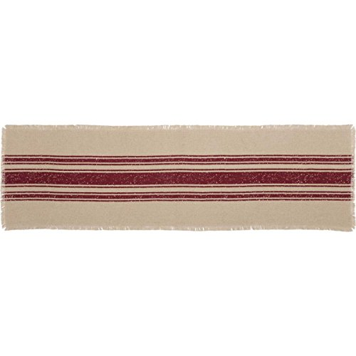 VHC Brands Farmhouse Holiday Tabletop & Kitchen-Vintage Burlap Stripe White Runner, 13
