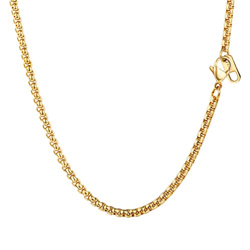 Square Box Chain,3mm Wide,DIY Chain,For Pendant,Men/Women Chain Necklace,Choker/Long,316L Stainless Steel,18K Gold Plated,94J-30
