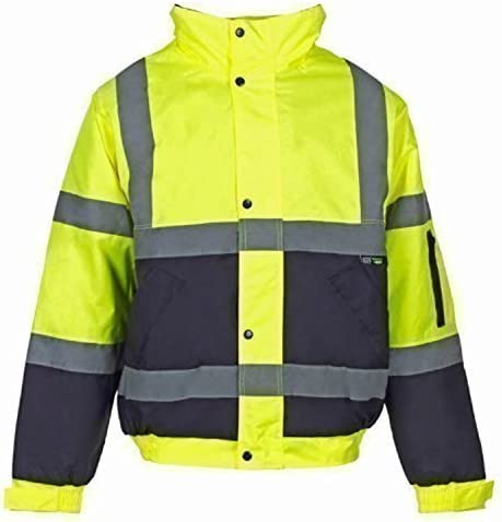 NUOVA linea uomo Hi Viz Vis Impermeabile Imbottito con Cappuccio Cappotto Parka Sicurezza Lavoro Giacca
