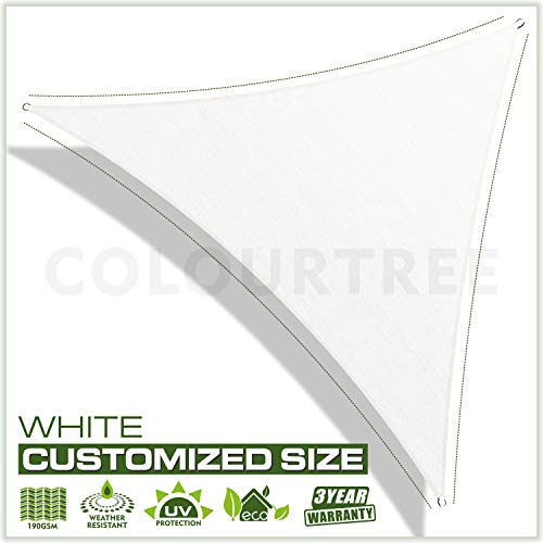 ColourTree Customized Size Order to Make Sun Shade Sail Canopy Mesh Fabric UV Block Triangle – Commercial Standard Heavy Duty – 190 GSM – 3 Years Warranty 14 x 14 x 14 White