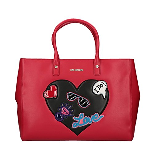 Love Moschino Patches shopping bag red