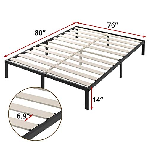 TATAGO 3500lbs Upgraded Heavy Duty Wooden Slats Platform Bed Frame, 14 Inch Tall Mattress Foundation, Extra-Strong Support, No Noise & No Box Spring Needed, King
