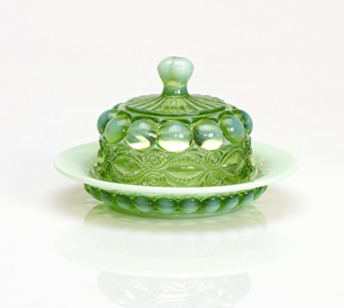Green Opalescent Glass Domed Butter Dish Eyewinker Pattern