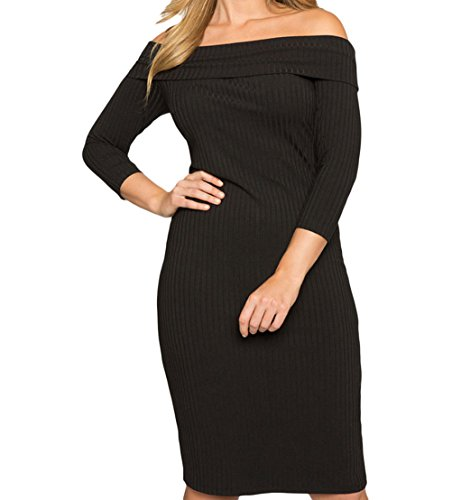 YFFaye Women's Black Ribbed Off the Shoulder 3/4 Long Sleeves Plus Dress XL (Abba Fancy Dress Outfits)
