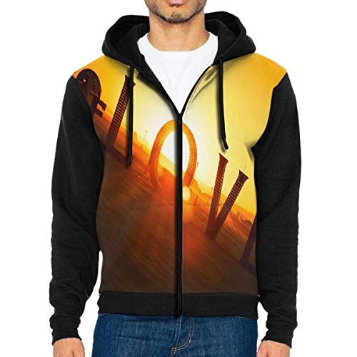Men Hoodie Sunset Love Designer Full Zip with Pocket Sweatshirt Lightweight Festive Black