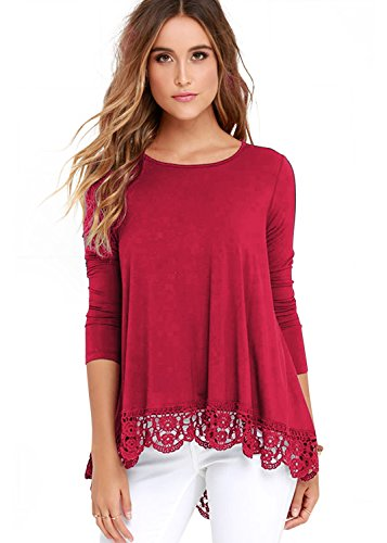(RAGEMALL Women's Tops Long Sleeve Lace Trim O-Neck A-Line Tunic Blouse Tops for Women Red)