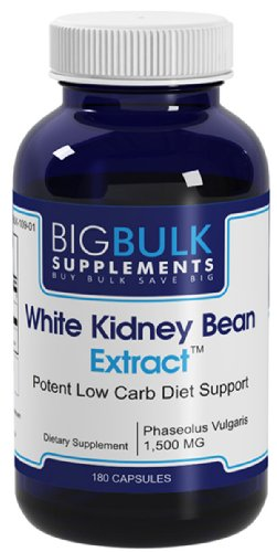 Haricot blanc Extrait Low Carb Weight Loss Soutien Big vrac rein suplements Phaseolus vulgaris haricots blancs Extrait 1500mg 180 Capsules 1 Bouteille