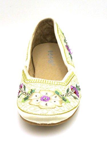 HIS Ballerinas Summer Ladies' shoes embroidered cream black 1773 Cream T5ZSfYvecE