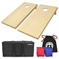 GoSports Solid Wood Premium Cornhole Set - Choose Between 4