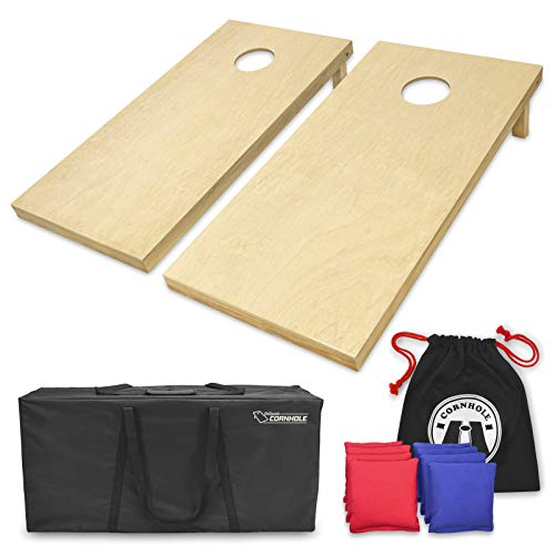 (GoSports Solid Wood Premium Cornhole Set - Choose Between 4'x2' or 3'x2' Game Boards | Includes Set of 8 Corn Hole Toss Bags)