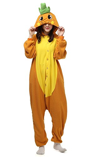Cousinpjs Adult Cosplay Costume Animal Sleepwear Halloween Pajamas (Small, Carrot)
