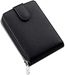 WILLIAMPOLO Genuine Leather Wallets Mens Small Driving Licence Zipper Credit Card Holder (Black-Cross)