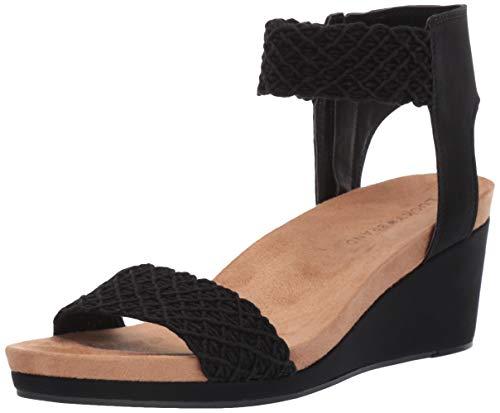 Lucky Brand Women's KIERONY Wedge Sandal, Black, 7 M US