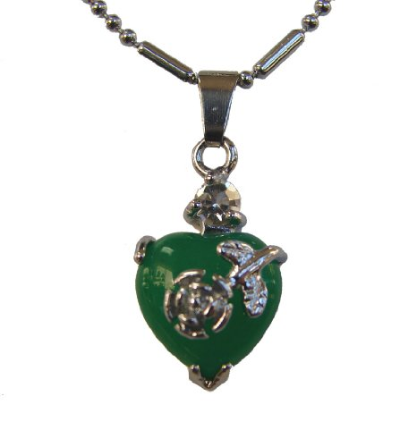Heart-Shaped Jade Pendant-add chain