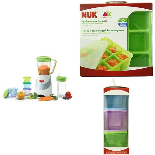 NUK Smoothie and Baby Food Maker with Homemade Baby Food Flexible Freezer Tray and Lid Set and Stack & Store Cups from NUK
