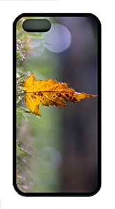iPhone 5S Customized Unique Yellow Leaf Bokeh New Fashion TPU Black iPhone 5/5S Cases - Scenery Flowers
