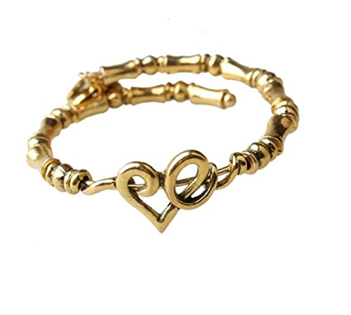 - Chandria's Treasures Heart Expandable Bamboo Bangle Bracelet with Charms - Summer Sale