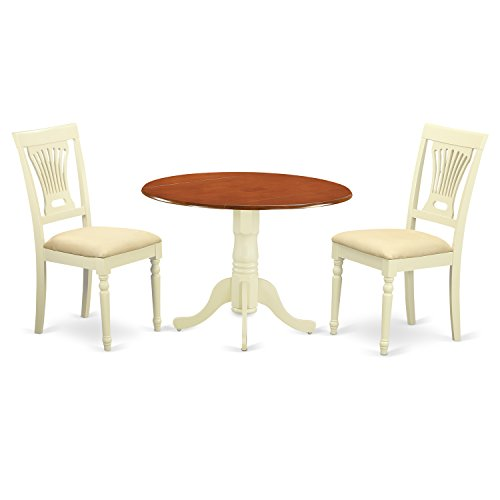 East West Furniture DLPL3-BMK-C 3 Piece Dining Table and 2 Wooden Kitchen Chairs Dublin Set, Buttermilk Cherry Finish