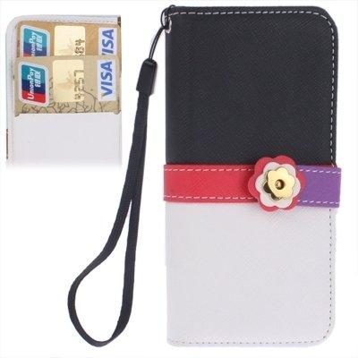 Mxnet Plum Flower Button Flip Leder Brieftasche Case Cover mit Kreditkarte Slot & Lanyard für iPhone 5 & 5s & SE rutschsicher Telefon-Kasten ( SKU : S-IP5G-3141A )