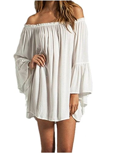 ZANZEA Women's Sexy Off Shoulder Chiffon Boho Ruffle Sleeve Blouse Mini Dress White 3XL
