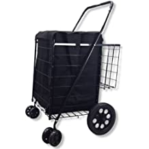 Folding Shopping Cart Swivel Wheel Extra Basket Jumbo Black with Liner by SCF