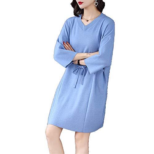 Vestido Azul Con Flojo Gran En Mujeres Sexy Cuello Suéter Cintura V Las Bolsa Shirloy Tamaño Hilo De Corazón Fq7T47