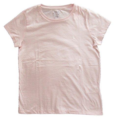 (Ralph Lauren Polo Women's Crewneck Pony Logo Tee (Small, Pink/RL White) )