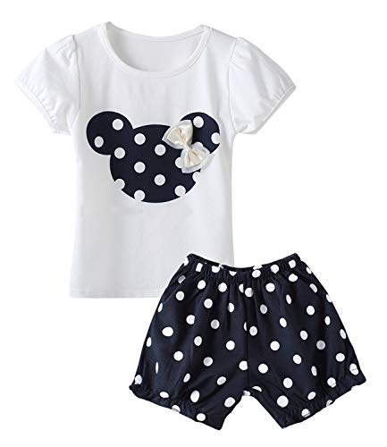 Cute Toddler Baby Girls Clothes Set Long Sleeve T-Shirt and Pants Kids 2pcs Outfits (Z-Navy, 4T)